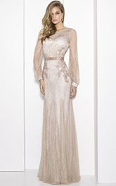 Sheath Floor-Length Scoop-Neck Puff-Sleeve Embroidered Lace Prom Dress With Waist Jewellery