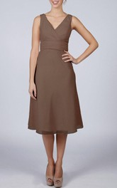 V-neck Pleated Chiffon Bridesmaid Dress