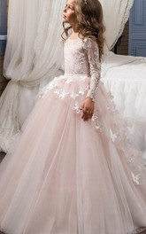 Ball Gown Tulle and Lace Bateau Long Sleeves Appliqued Flower Girl Dress