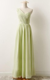 Floor-length One-shoulder Chiffon Dress