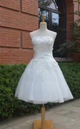 Knee-Length Tulle Lace Dress With Beading Lace-Up Back