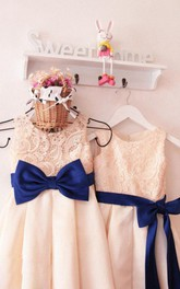Elegant Lace Bodice Dress With Bow Sash