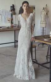 Sexy Mermaid Boho Illusion Long Sleeve Lace Bridal Gown With Plunging