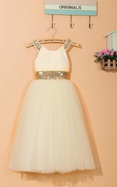 Sleeveless Scoop Tulle Dress With Sequins&Flower