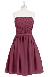 Short A-Line Strapless Chiffon Dress With Ruching and Pleats
