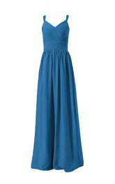 Sleeveless V-neck Ruched Sash Long Pleated Chiffon Dress