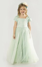 Mint Short Sleeve Flower Girl Dress With Tulle Skirt