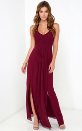 Elegant Sleeveless Chiffon Gown With Side Splits