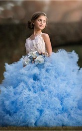 Tulle Spaghetti Sash Bow Flower Girl Dress with Applique and Flowers
