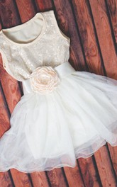 Strapless Tulle Dress With Sequins&Flower Belt