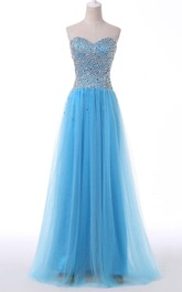 Sweetheart A-line Floor-length Tulle Beaded Dress