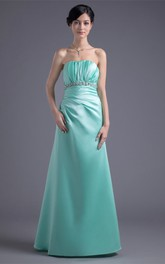 Strapless Satin A-Line Dress with Ruching and Gemmed Waist