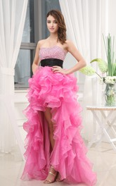 Blushing Strapless Dress With Beaded Top and Ruffles