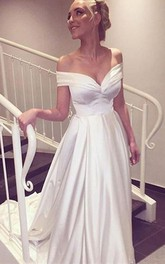 Sweetheart Off The Shoulder Long Wedding Dress With Train