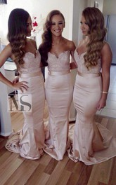 Sexy Sleeveless Sweartheart Mermaid Bridesmaid Dress Sweep Train