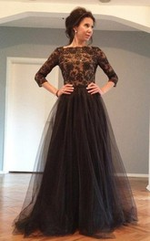 Black Lace Long Sleeves Prom Dress with Backless Back