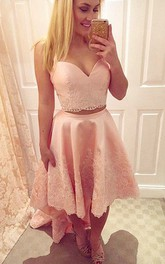 A-line Straps Sweetheart Sleeveless Appliques High-low Satin Lace Homecoming Dress