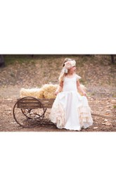 Vintage Lace Cap Sleeve Scoop Neck Ruffled A-line Jersey Flower Girl Dress
