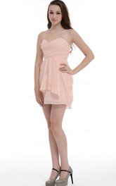 A-line Mini Sweetheart Chiffon Dress