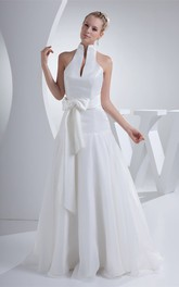 High-Neck A-Line Pleated Dress with Ribbon and Halter