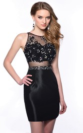 Sheath Satin Homecoming Dress With Illusion Style And Beaded Lace Bust
