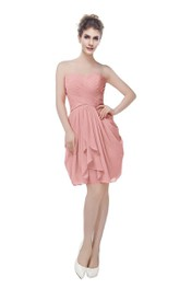 Sweetheart Short Chiffon Dress With Criss-cross Ruching