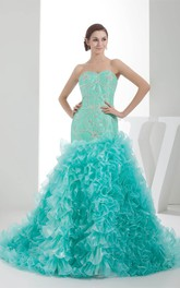 Sweetheart Ruffled A-Line Gown with Gemmed Bodice