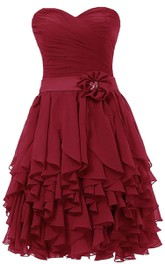 Sweetheart Ruffle Dress Wtih Sash and Flower