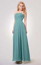 Strapless A-line Long Pleated Chiffon Dress