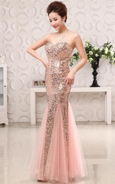 Glamorous Sequins Mermaid Sweetheart Evening Dress 2018 Zipper Sleeveless