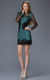 Pencil Mini Jewel-Neck Illusion Long Sleeve Sequins Dress With Beading