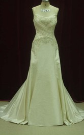 Strapped Lace Satin Weddig Dress With Beading