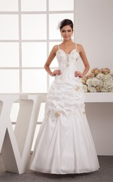 Pick-Up Floor-Length A-Line Gown with Appliques and Spaghetti-Straps