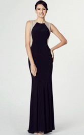Sleeveless Beaded Scoop Neck Jersey Prom Dress With Keyhole