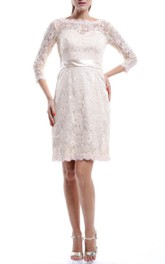 Knee-length Long Sleeve Lace Dress