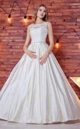 Bateau Sleeveless A-Line Satin Lace Wedding Dress With Corset Back