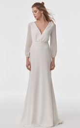 Simple Chiffon V-neck Sheath Long Sleeve Wedding Dress with Lace Cowel Back
