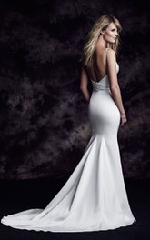Sleeveless V-Neck Mermaid Long Dress With Low-V Back