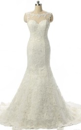 Mermaid Cap Sleeve Tulle Weddig Dress With Appliques