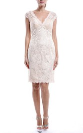 Mini White V-neck Lace Dress