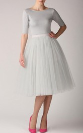 Grey Pearl Tutu Skirt Tulle Tea Length Dress