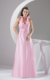 Plunged Sleeveless Satin A-Line Dress with Ruffled Halter