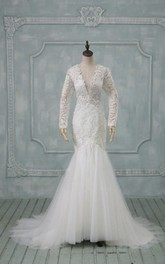 V-Neck Illusion Sleeve Low-V Back Mermaid Long Tulle Wedding Dress