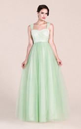 A-line Long Lace and Tulle Bridesmaid Dress