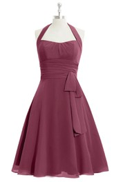 A-Line Chiffon Dress With Halter and Bow Sash