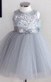 Beaded Bodice Jewel Neckline Ruched Tulle Dress With Sequins