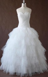 Sweetheart Tulle Lace Satin Dress With Pleats Criss Cross Tiers Corset Back