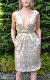 Sequined V-neck Sheath Dress With Low-V Back