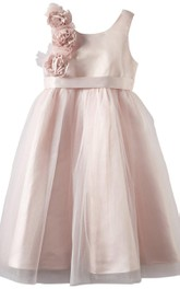 Sleeveless A-line Tulle Dress With Flowers