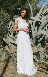 Graceful Jewel Neck Short Sleeve Wedding Dress
